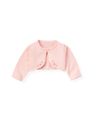Baby Girl Delicate Pink Hand-Embroidered Rose Crop Cardigan at JanieandJack