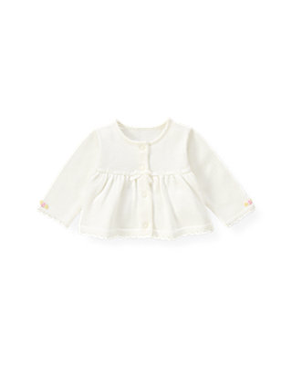 Baby Girl Jet Ivory Hand-Embroidered Rose Cardigan at JanieandJack