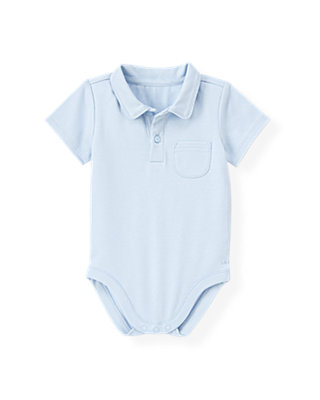 Baby Boy Pale Blue Polo Bodysuit at JanieandJack