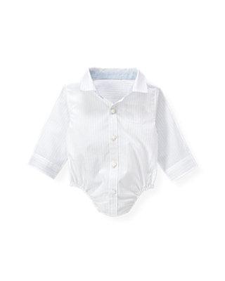 Baby Boy Pale Blue Stripe Stripe Shirt Bodysuit at JanieandJack