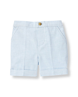 Baby Boy Pale Blue Houndstooth Linen Blend Short at JanieandJack