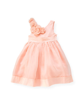 Rose Pink Organza Rosette Silk Dress at JanieandJack