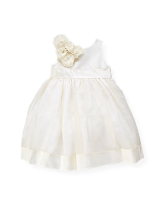 Jet Ivory Organza Rosette Silk Dress at JanieandJack