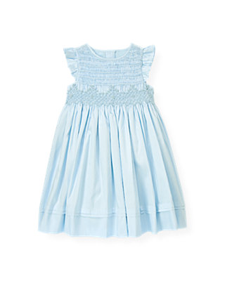 Pale Blue Hand-Smocked Silk Dress at JanieandJack