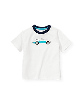 Boys Pure White Convertible Car Ringer Tee at JanieandJack