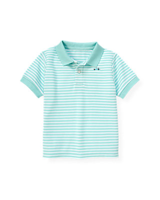 Boys Aqua Stripe Polo Shirt at JanieandJack