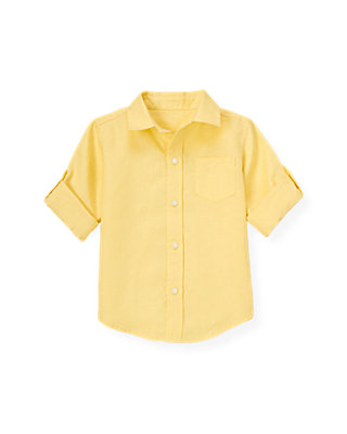 Yellow Linen Roll Cuff Shirt at JanieandJack