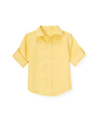 Yellow Linen Roll Cuff Shirt at JanieandJack