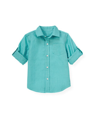 Teal Linen Roll Cuff Shirt at JanieandJack
