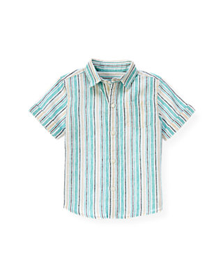 Aqua Stripe Linen Blend Stripe Shirt at JanieandJack