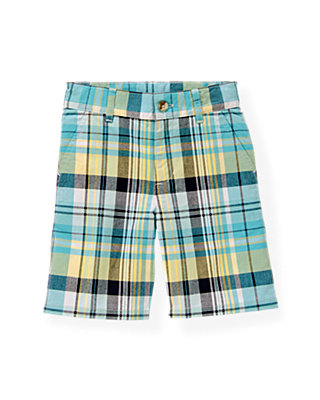Boys Teal Plaid Madras Plaid Short at JanieandJack
