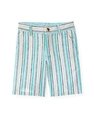 Boys Aqua Stripe Linen Blend Stripe Short at JanieandJack
