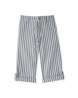 Boys Teal Stripe Stripe Roll Cuff Pant at JanieandJack