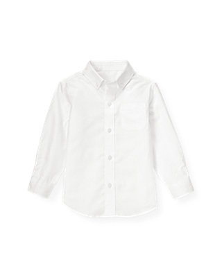 Pure White Dobby Patterned Dress Shirt at JanieandJack