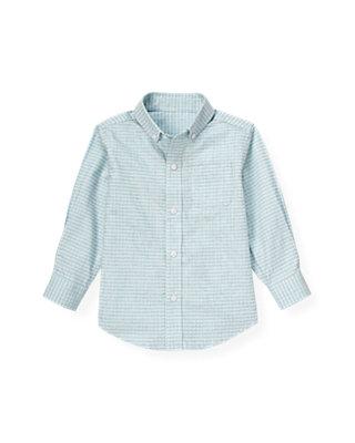Pale Blue Check Dobby Check Dress Shirt at JanieandJack