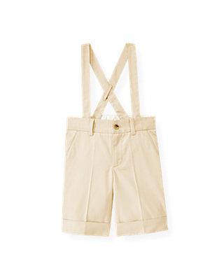 Boys Classic Khaki Twill Suspender Short at JanieandJack