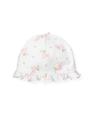 Barely Pink Floral Floral Knit Hat at JanieandJack