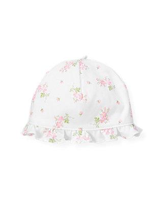 Barely Pink Floral Floral Knit Hat at JanieandJack
