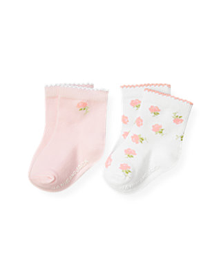 Baby Girl Barely Pink Blossom Floral Sock Two-Pack at JanieandJack