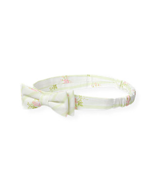 Pale Green Floral Wallpaper Stripe Floral Headband at JanieandJack