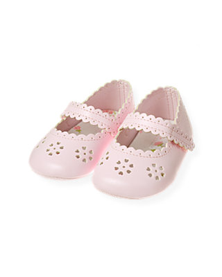 Baby Girl Barely Pink Eyelet Crib Shoe at JanieandJack