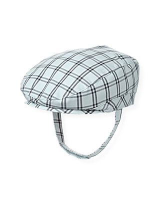Baby Boy Feather Blue Check Checked Cap at JanieandJack