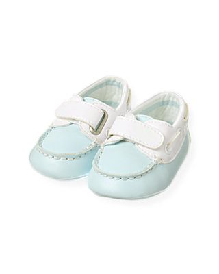 Baby Boy Feather Blue Boat Crib Shoe at JanieandJack