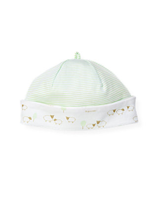 Baby Boy Pale Green Stripe Sheep Stripe Reversible Beanie at JanieandJack