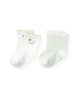 Baby Girl Pale Green Stripe Sheep Stripe Sock Two-Pack at JanieandJack