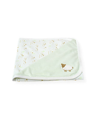 Pale Green Stripe Sheep Stripe Blanket at JanieandJack