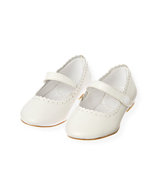 Pure White Scalloped Leather Shoe at JanieandJack