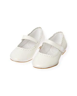 Pure White Scalloped Leather Shoe at JanieandJack