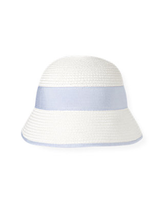 Pure White Straw Cloche Hat at JanieandJack