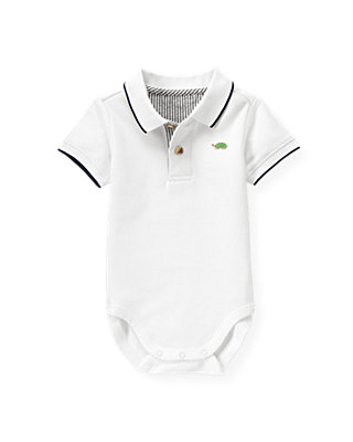Pure White Polo Bodysuit at JanieandJack