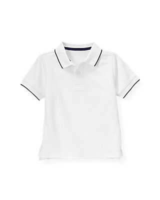 Boys Pure White Tipped Polo Shirt at JanieandJack