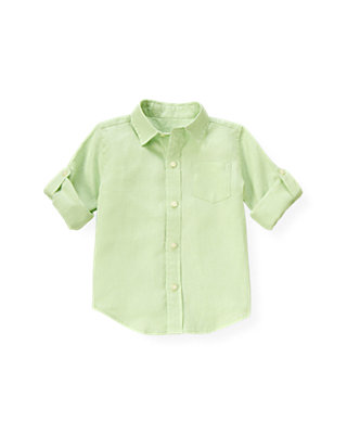 Limeade Green Linen Roll Cuff Shirt at JanieandJack