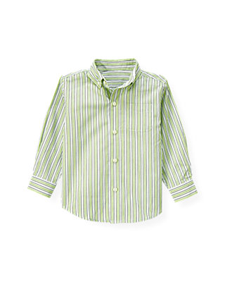 Turtle Green Stripe Stripe Dress Shirt at JanieandJack