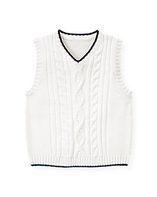 Pure White Cable Sweater Vest at JanieandJack