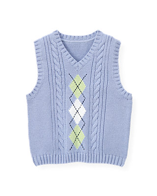 Purple Thistle Argyle Cable Sweater Vest at JanieandJack