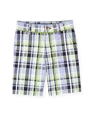 Boys Classic Navy Plaid Plaid Seersucker Short at JanieandJack