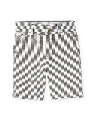 Boys Chambray Blue Stripe Stripe Seersucker Short at JanieandJack