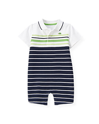 Boys Classic Navy Stripe Polo Stripe One-Piece at JanieandJack