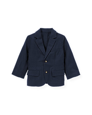 Classic Navy Linen Blend Suit Blazer at JanieandJack