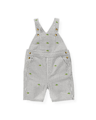 Boys Chambray Blue Stripe Embroidered Stripe Seersucker Shortall at JanieandJack
