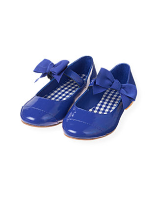 Bright Blue Bow Patent Leather Shoe at JanieandJack