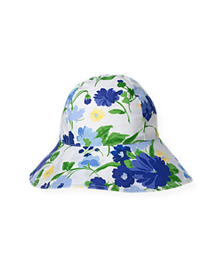 Bright Blue Floral Bow Floral Sunhat at JanieandJack