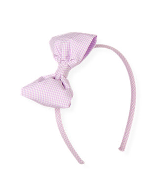 Purple Petunia Check Gingham Bow Headband at JanieandJack