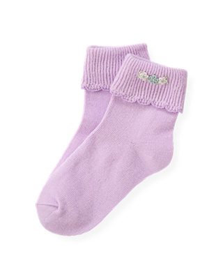Purple Petunia Hand-Embroidered Petunia Sock at JanieandJack