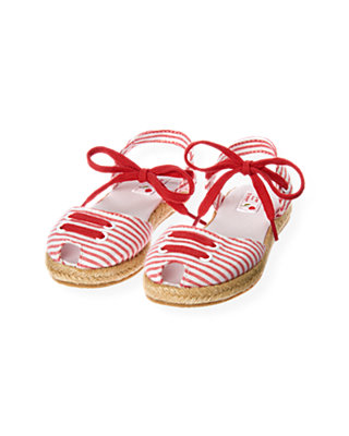 Cherry Red Stripe Stripe Seersucker Espadrille Sandal at JanieandJack