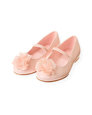 Rose Pink Organza Rosette Leather Shoe at JanieandJack